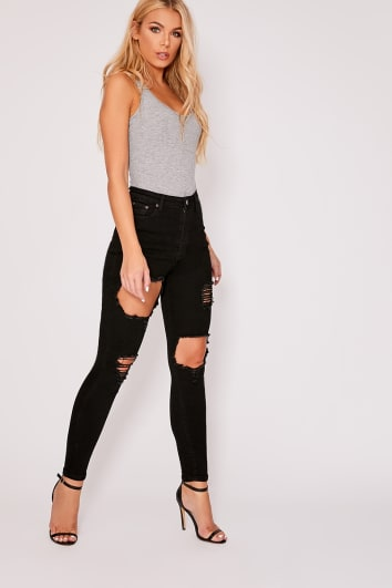 ZANEY BLACK DENIM HIGH WAISTED MULTI RIP SKINNY JEANS