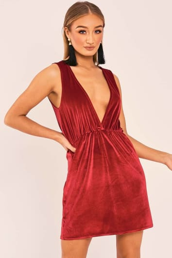702114f520 ESMI RED VELVET PLUNGE MINI DRESS