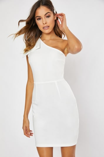 77954f7644d4 YANIRAH WHITE ONE SHOULDER BOW DETAIL BODYCON DRESS
