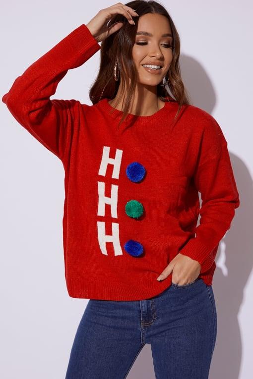 RED HO HO HO POM POM CHRISTMAS JUMPER