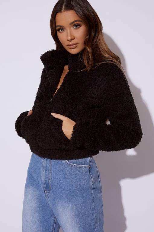CIETA BLACK CROPPED BORG PULLOVER JACKET