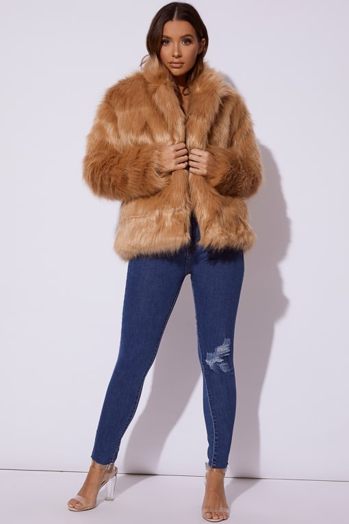 CC CLARKE STONE OVERSIZED FAUX FUR COAT