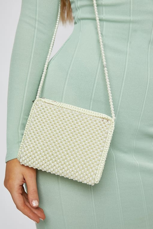 CREAM BEADED RECTANGLE BAG