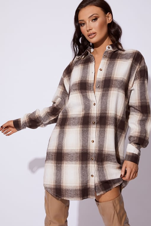 CC CLARKE BROWN CHECKED OVERSIZED SHIRT DRESS
