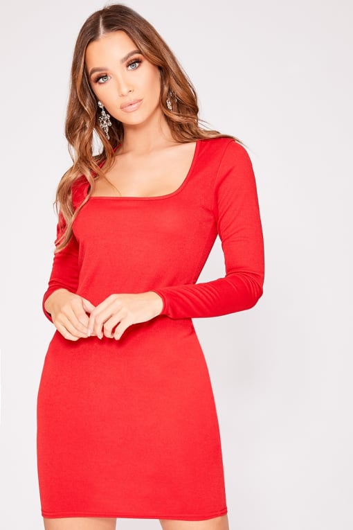 CARRIA BASIC RED SCOOP NECK LONG SLEEVE DRESS