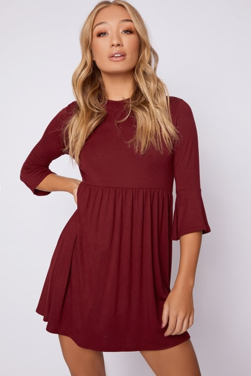 EIRIAN BURGUNDY JERSEY SMOCK DRESS