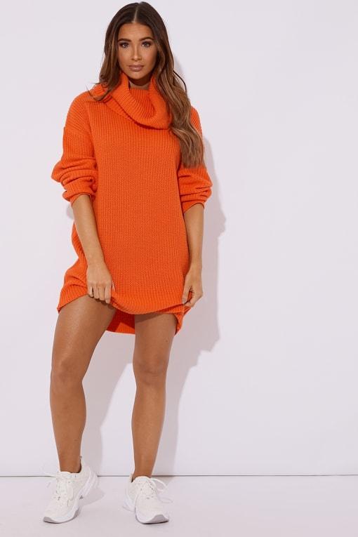 TINA ORANGE ROLL NECK KNITTED JUMPER DRESS