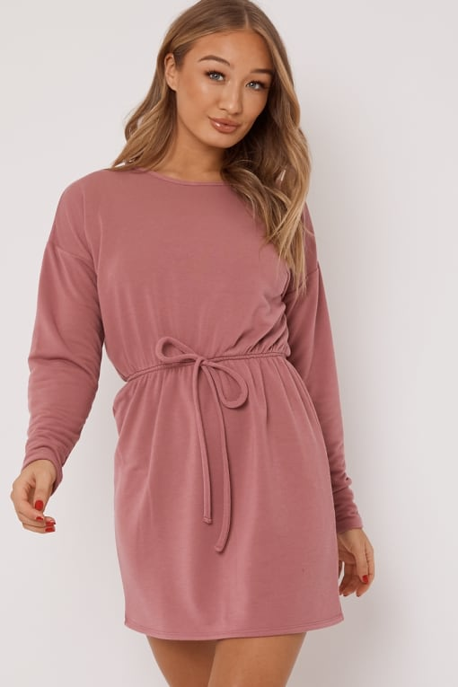 DEANIE DUSKY PINK DRAWSTRING WAIST SWEATER DRESS