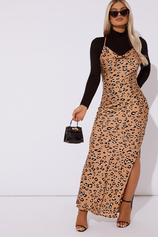 PAIGHTON CAMEL SATIN LEOPARD CROSS BACK DRESS