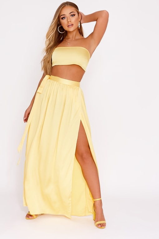 BILLIE FAIERS YELLOW SATIN THIGH SPLIT MAXI SKIRT