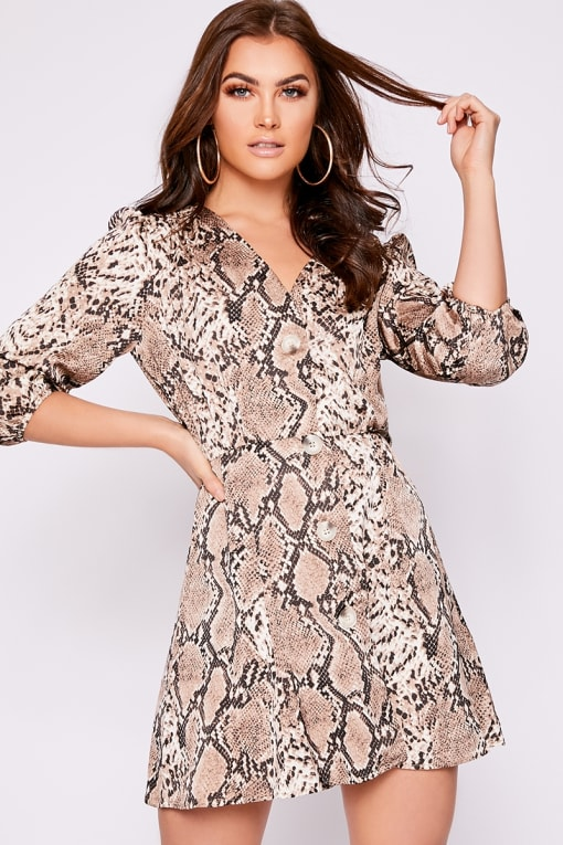 TALLEH BROWN SNAKESKIN BUTTON DOWN SKATER DRESS