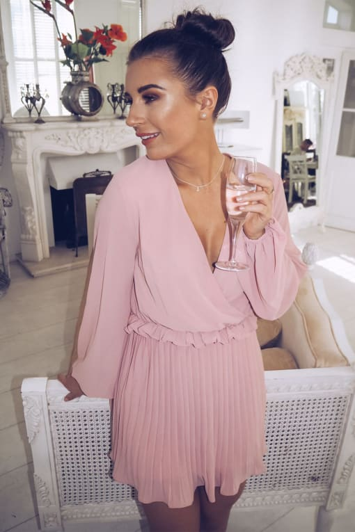 DANI DYER DUSTY PINK BALLOON SLEEVE PLEATED MINI DRESS