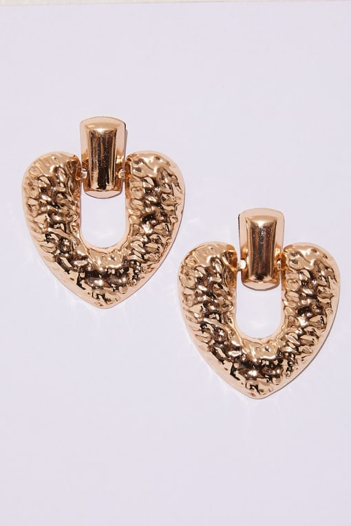GOLD TEXTURED HEART EARRINGS