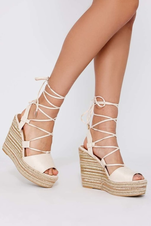 PONI CREAM FAUX SUEDE LACE UP ESPADRILLE WEDGES