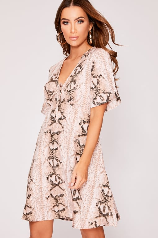 LOULOU STONE SNAKE PRINT TIE DETAIL SWING DRESS