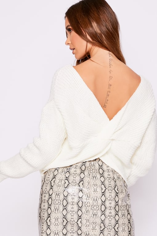JAYA CREAM TWIST BACK JUMPER