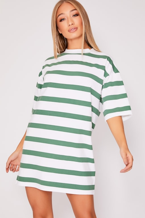 IGGI GREEN STRIPE OVERSIZED T SHIRT DRESS