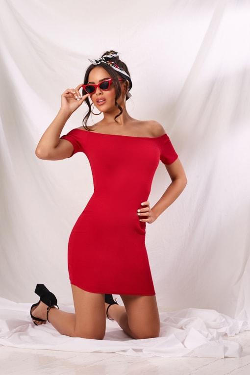 JAZELLE RED CREPE BARDOT MINI DRESS