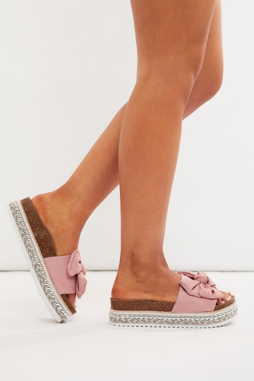 KYLEEN PINK FAUX SUEDE BOW DETAIL SLIDERS
