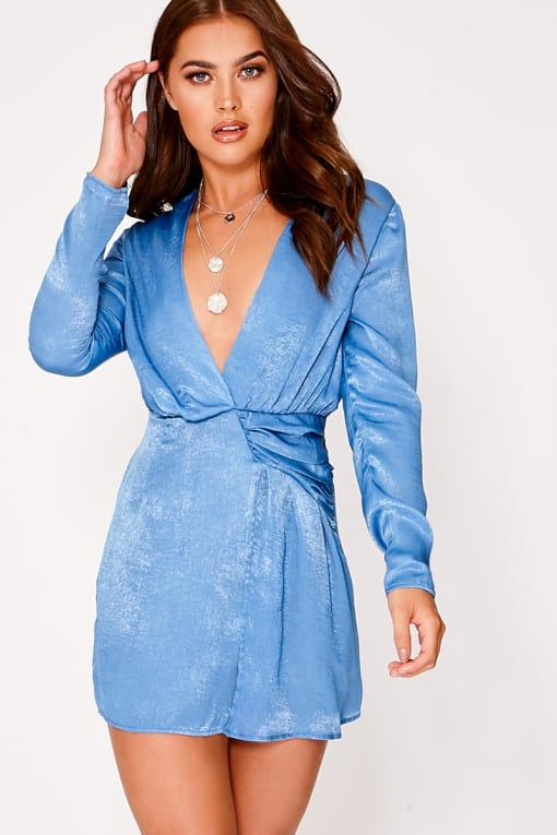 SARAH ASHCROFT BLUE SATIN DRAPED PLUNGE MINI DRESS