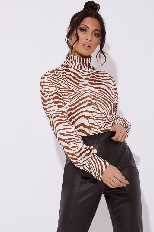 FREYA HIGH NECK ZEBRA PRINT SATIN CROPPED TOP