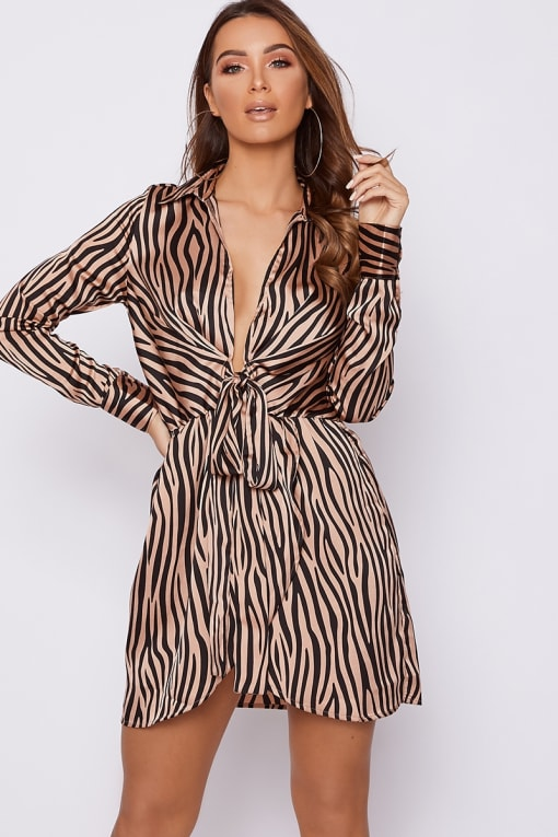 GREYSON NUDE ZEBRA PRINT TIE FRONT SATIN SHIRT DRESS
