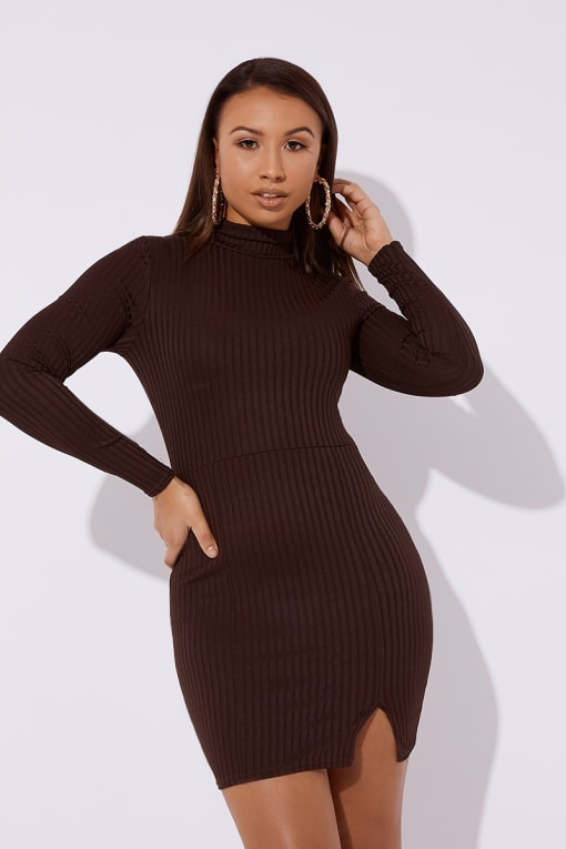 CAETTI BROWN RIBBED HIGH NECK SPLIT MINI DRESS