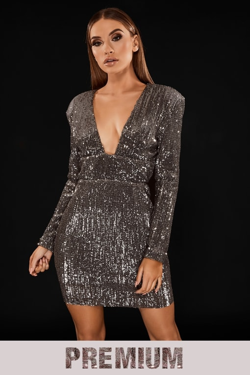 PREMIUM CHARCOAL SEQUIN OPEN BACK PLUNGE MINI DRESS