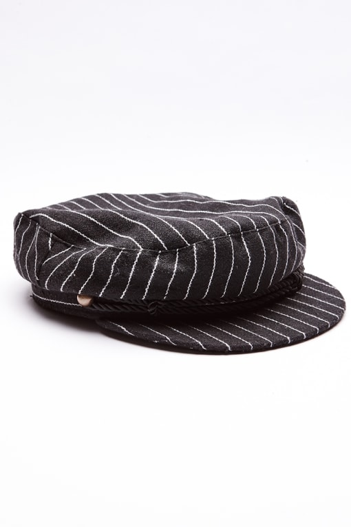 BLACK PINSTRIPE BAKER BOY HAT