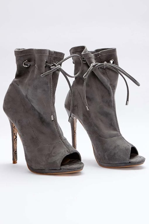 SARAH ASHCROFT GREY FAUX SUEDE PAPERBAG PEEPTOE ANKLE BOOTS