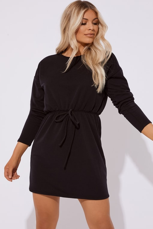 DEANIE BLACK DRAWSTRING WAIST SWEATER DRESS