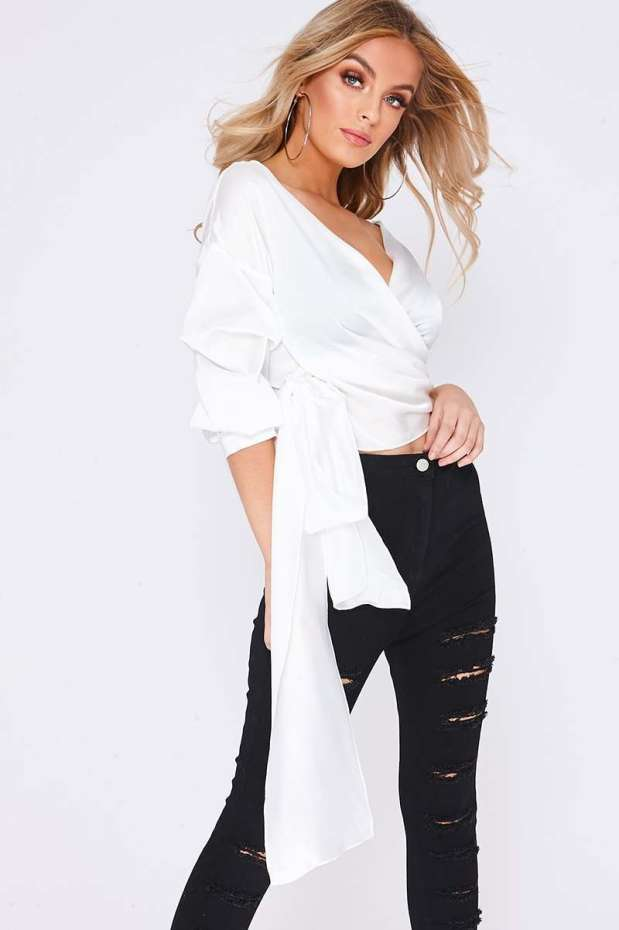 KARY WHITE RUCHED DETAIL SLEEVE TIE FRONT TOP