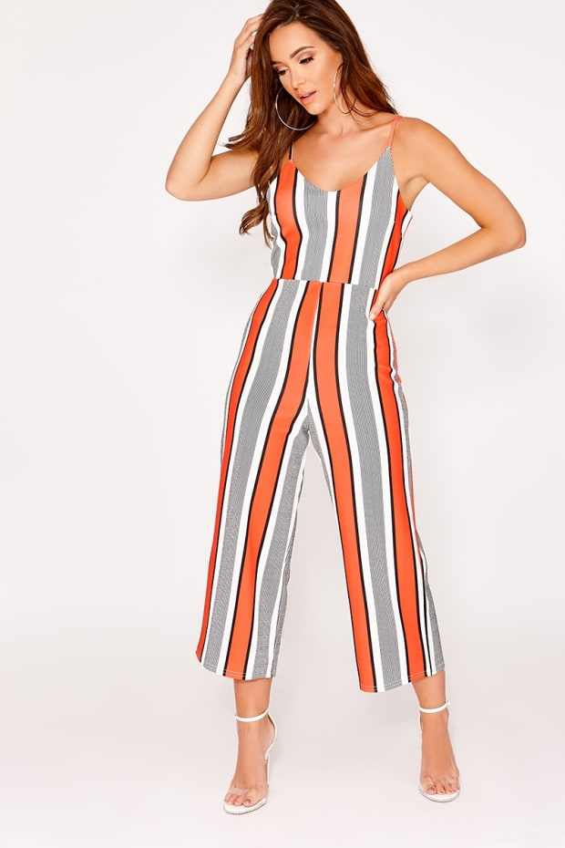 BRIAH RED STRIPE CULOTTE JUMPSUIT