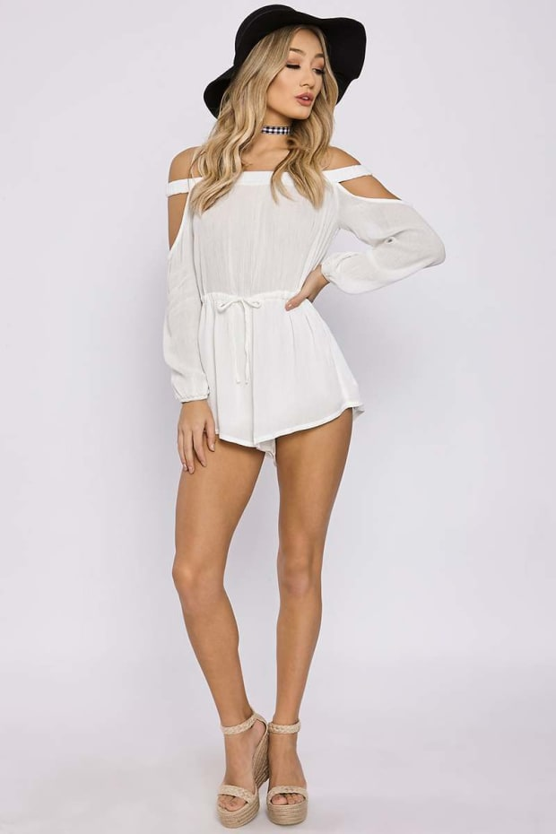 CHARLOTTE CROSBY WHITE OPEN SHOULDER BARDOT PLAYSUIT