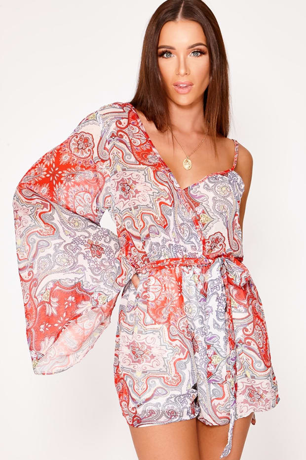 NATALIEE RED PAISLEY CHIFFON ONE SHOULDER PLAYSUIT