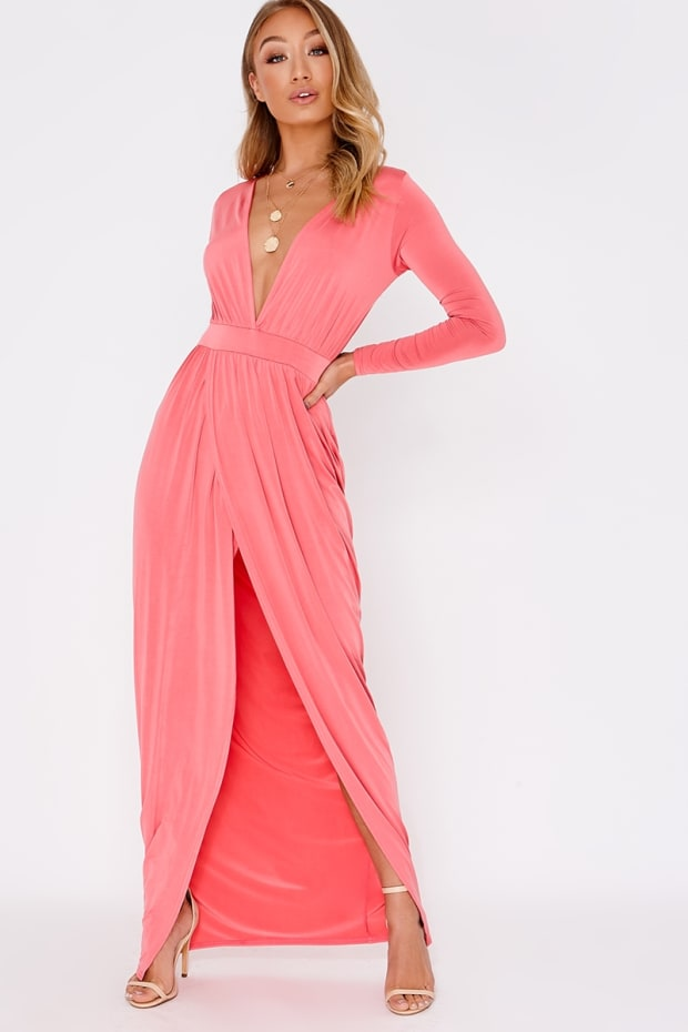 Dream Coral Plunge Long Sleeve Backless Maxi Dress  2eda38842228