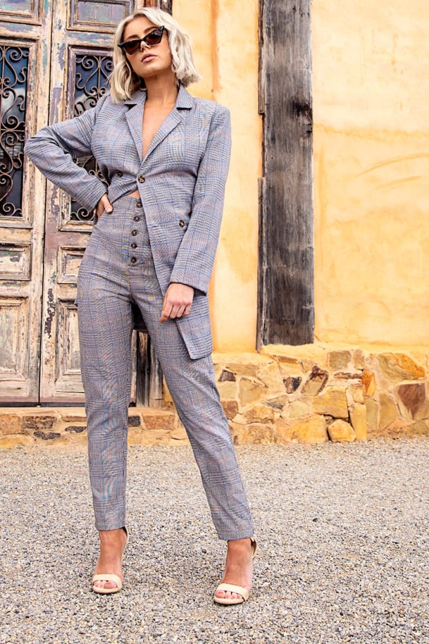 LAURA JADE GREY HERITAGE CHECK HIGH WAISTED STRAIGHT LEG TROUSERS