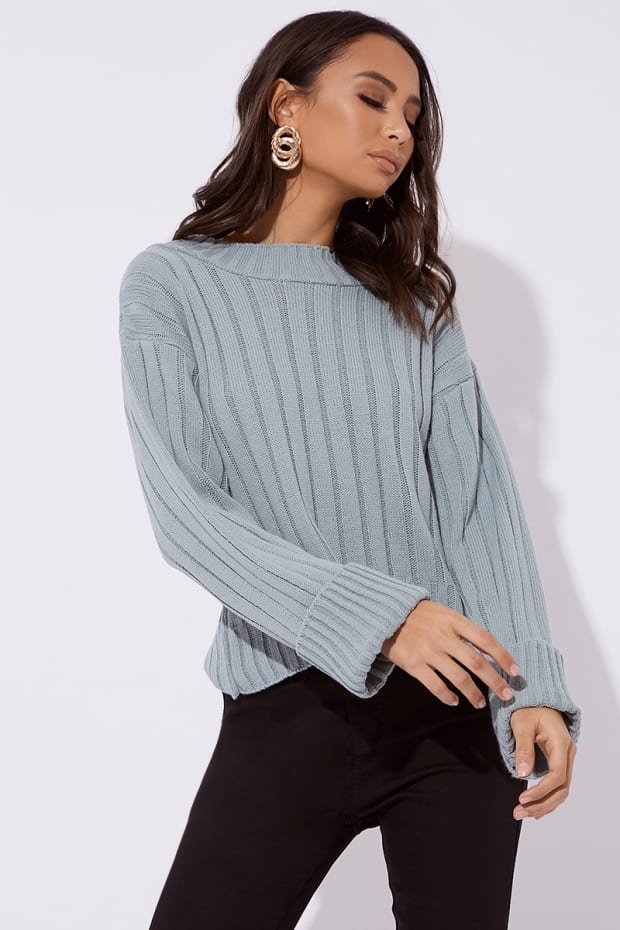 ADINIA SAGE GREEN RIBBED HIGH NECK SLOUCHY JUMPER