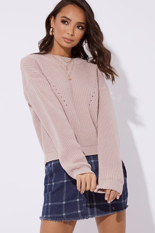 HARIET NUDE CREW NECK RIBBED KNITTED JUMPER