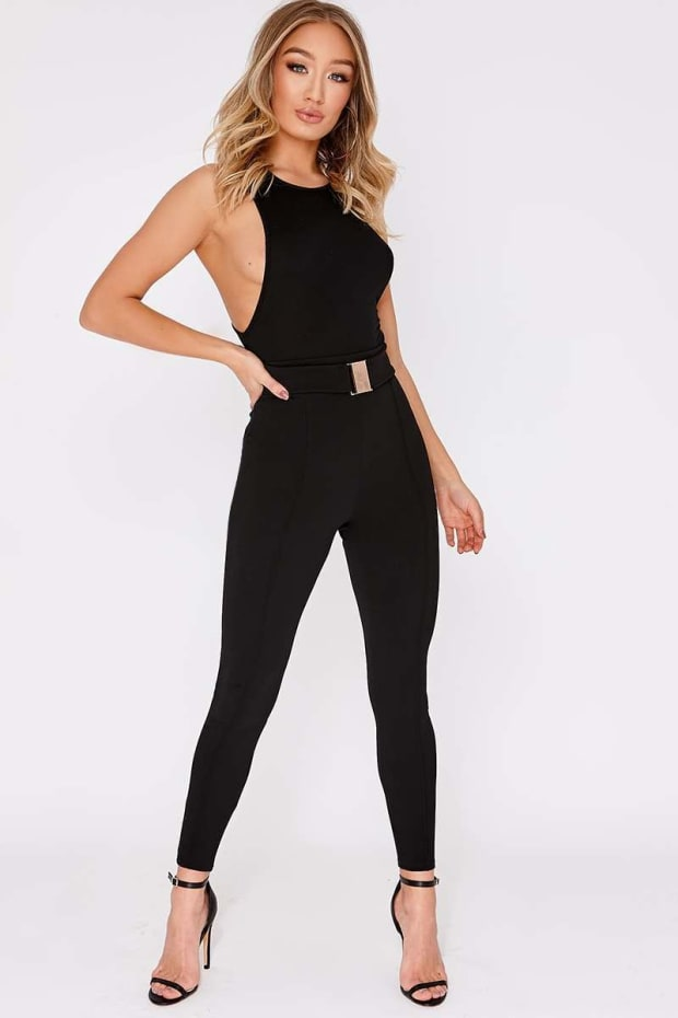 KALIDA BLACK BUCKLE DETAIL HIGH WAISTED TROUSERS