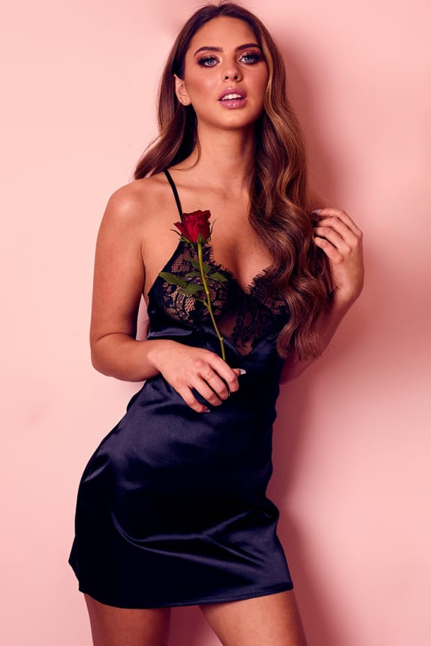 IZABEL BLACK SATIN AND LACE SLIP DRESS