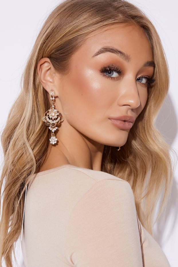 GOLD STONE DROP HOOPS