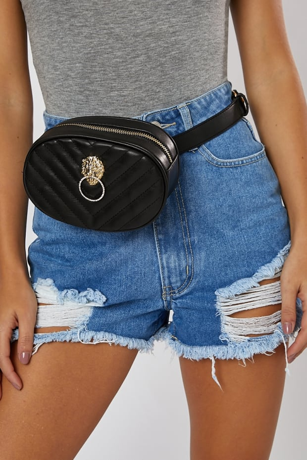 BLACK QUILTED GOLD LION FEATURE BUMBAG
