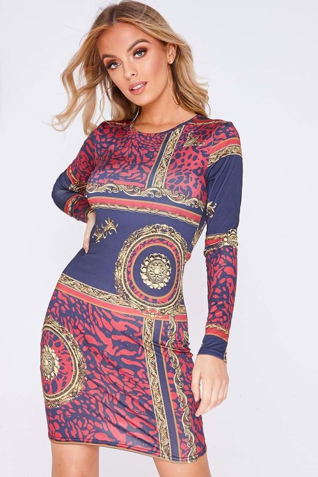 FAYLIN NAVY BAROQUE PRINT LONG SLEEVE BODYCON DRESS