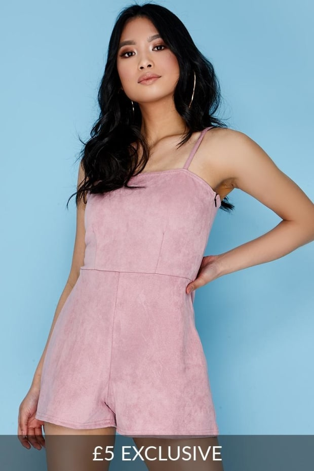 RALEY ROSE FAUX SUEDE CAMI PLAYSUIT