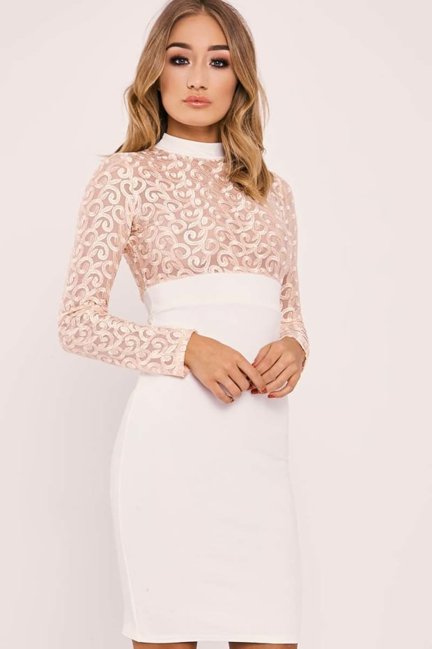 BRYCE WHITE SWIRL MESH LONG SLEEVE DRESS