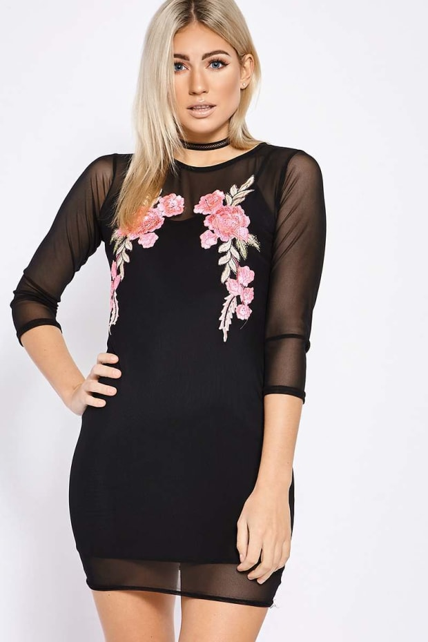 SHAYLIN BLACK MESH APPLIQUE LONG SLEEVED DRESS