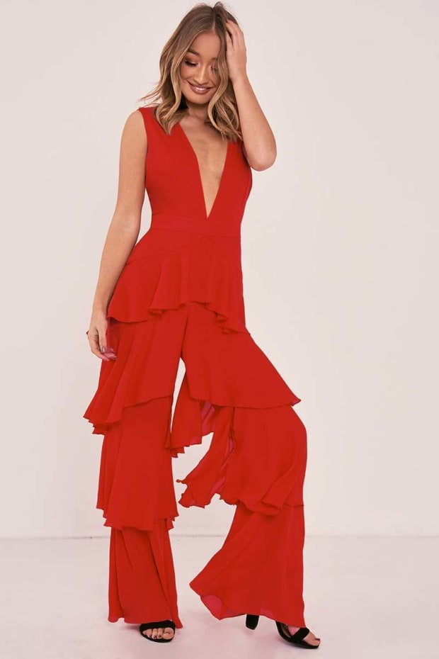 SHERRY RED PLUNGE TIERED RUFFLE JUMPSUIT