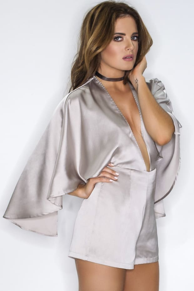Binky Silver Satin Plunge Front Cape Playsuit