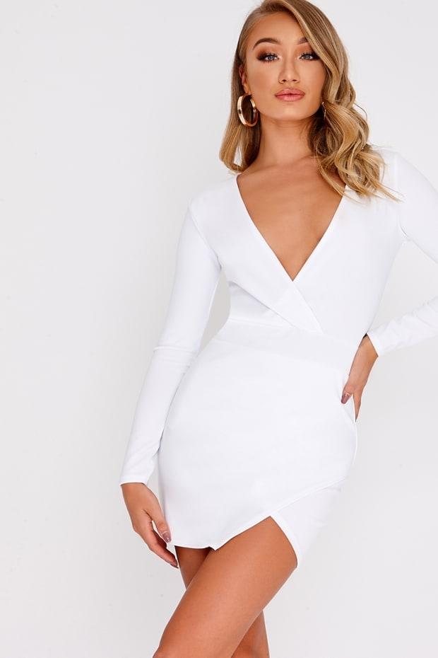 FLYNN WHITE LONG SLEEVE PLUNGE WRAP DRESS